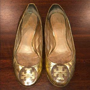 Tory Burch Metallic Gold Reva Ballet Flat